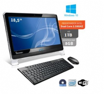 Computador ALL IN ONE 3green Intel Dual Core com 8 Gb / Tela 18,5'' LED / HD 1 Tb / HDMI / Wi-Fi, Teclado e Mouse Sem Fio, Grav.DVD e WebCam<b> - ** SEMI-NOVO com Garantia de 3 meses** - </b>(Cod. 33715-5NPD)