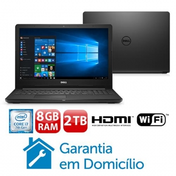 "Notebook DELL Inspiron Intel Core i7 * 7a. Geração, 2.7 Ghz, 8 Gb, Hd 2 Tb, Tela LED 15.6'', Bluetooth, Windows 10 original - (Cod. 35538-6)<BR><BR><B><font color=""#FF0000"">R$ 4.190,00 a vista direto na Loja -  -"