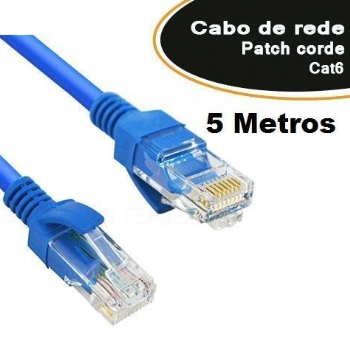 Cabo Patch Cord CAT6e * 5 Metros *  - (Cod. 35614-9)