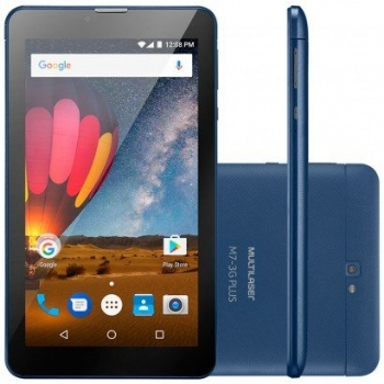 Tablet Multilaser M7S Plus Dark Blue com 3G / Tela 7'' / 8 Gb / Memória RAM 1Gb / Quad Core 1.3 Ghz / Câmera - (Cod. 35637-2)