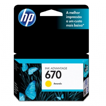 Cartucho Original HP 670 color * AMARELO / YELLOW * CZ116AB (Deskjet Ink Advantage 3525 / 4615 / 4625 / 5525) (Cod. 29927-7)