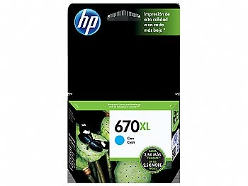 Cartucho Original HP 670XL Ciano 7,5 Ml * CZ118AB *  ( Deskjet Ink Advantage: 3525, 4615, 4625, 5525 ) * HP * ( Cod. 30797-8 )