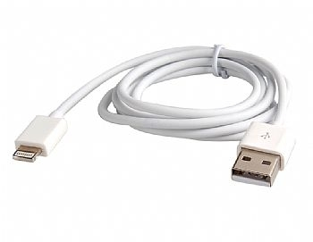 Cabo USB / Carregador para iPhone 5 6 7 e 8 / iPad Mini / iPad 4 * 1 Metro / Branco * (Cod. 32689-4)