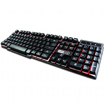 Teclado USB Gamer * HARD LINE - KB-7010 * com LED / Semi-Mecânico (Cod. 33503-4)