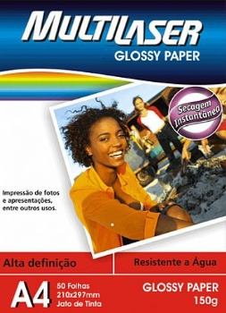Papel Glossy Multilaser (50 Folhas - 210 x 297 mm) (Cod. 9507-3)