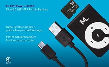 Kit MP3 Player (MP3 + Cartão Micro SD + Cabo Micro + Pen Drive 8Gb)  - com Função Pen Drive * (Cod. 34601-0)