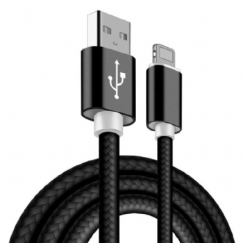 Cabo USB para iPhone * Nylon Black * 5, 6, 7 ,8 e X / iPad Mini / iPad 4 * 1 Metro - (Cod. 35847-7)