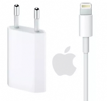 Fonte Carregador USB + Cabo Lightning APPLE Original para iPhone 5 / 6 / 7 / 8 / X - (Cod. 34407-0)